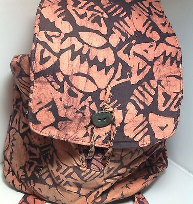 NWT Nicole Miller African $85 Charity Artisan Backpack Orange and Purple