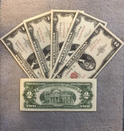 ☆$2 Red Seal Jefferson Dollars ☆Rare Certificate Two Old Estate Money☆1953 1963☆