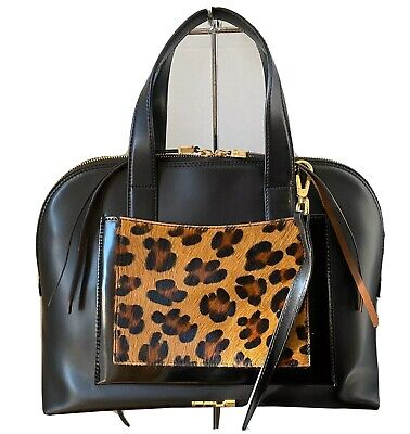 INNUE CALF HAIR PATENT LEATHER BLACK AND BROWN  SHOULDER BAG SATCHEL PURSE