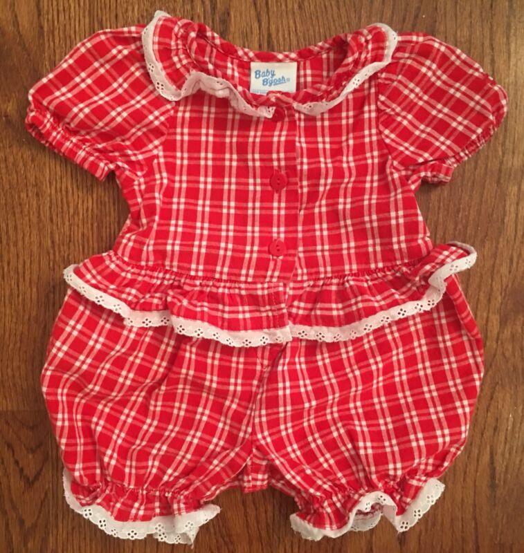 Vtg Osh Kosh B'gosh Baby Girl Red Picnic Check Romper Eyelet Trim USA Sz 3-6m