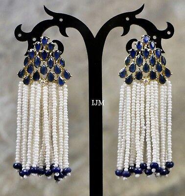 USA Indian Ethnic Gold Plated Pearl Moti Blue Cyrstal Jhumki Bali Drop Earring