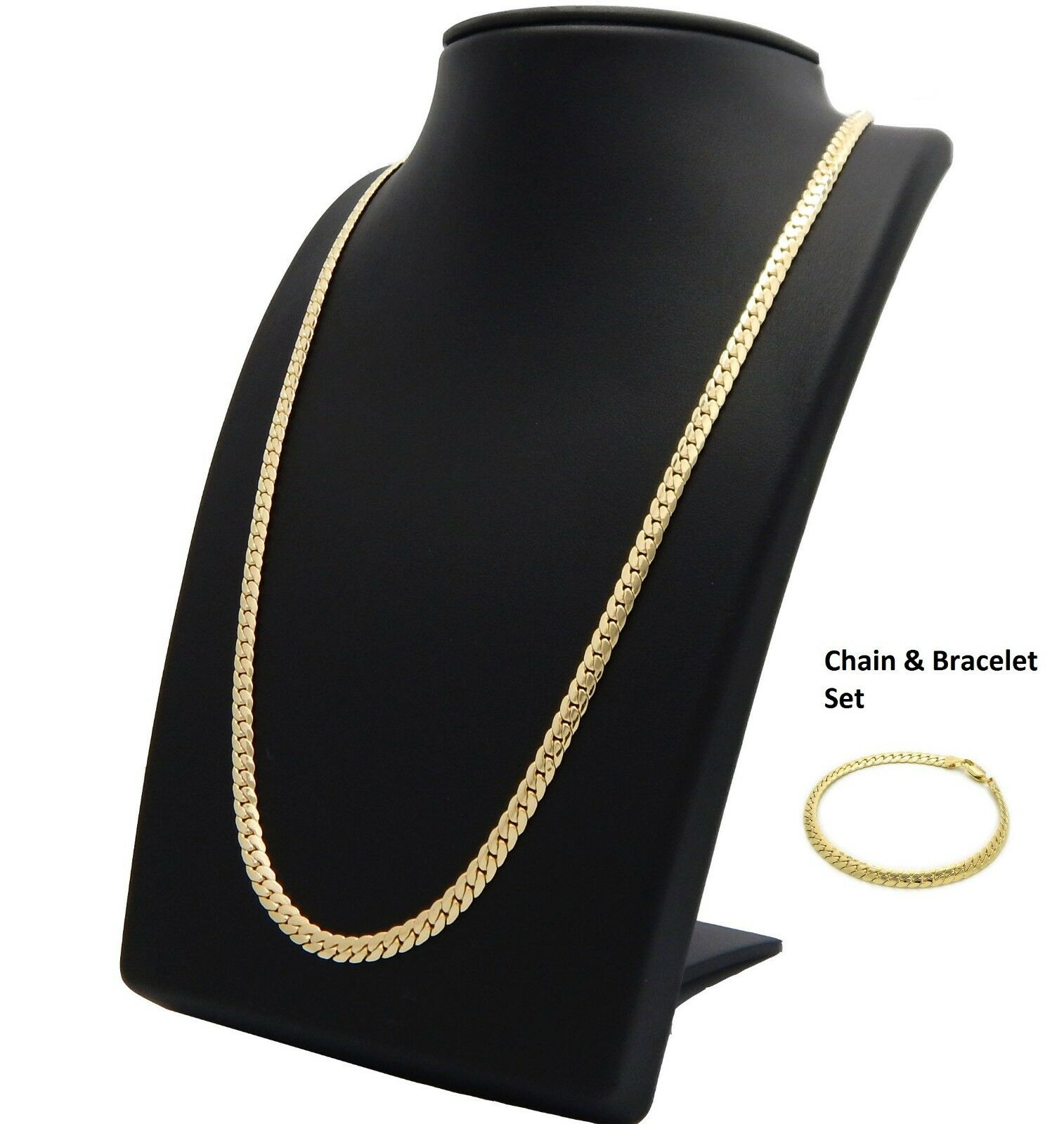 14k Mens Miami Cuban link Chain & Bracelet Set Gold Plated 5