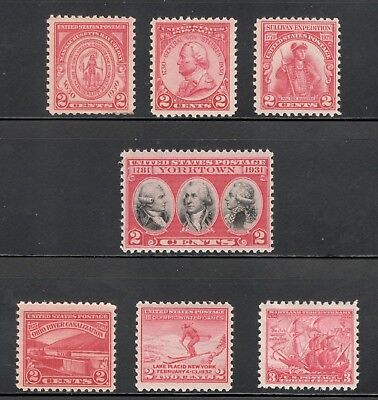 657/736  Red Commemoratives 7 US Postage Stamps Over 80 Years Old MNH (A-179)