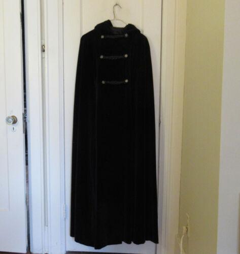 Long Black Velvet Cape Lou Ritchie Hood Lined Opera Cloak / Coat
