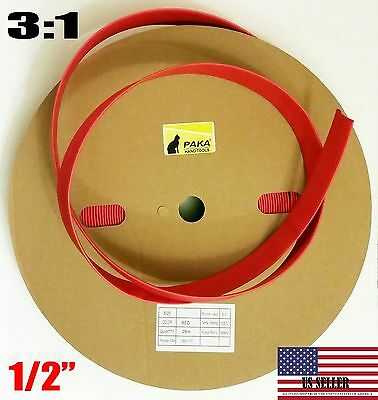 Made In Usa 5 Feet- 12 Dual Wall Red Heat Shrink Tubing 31 Adhesive Glue