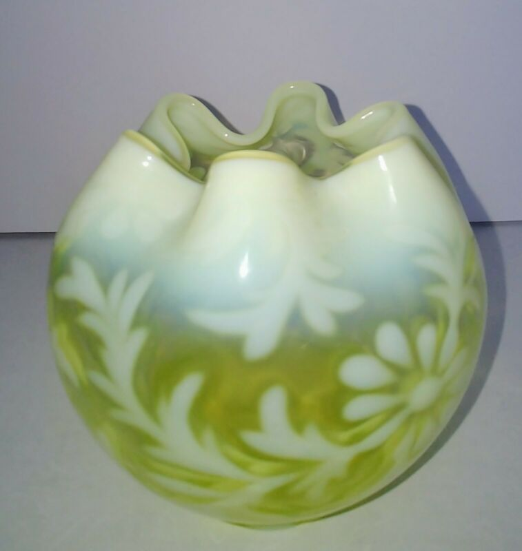 Early Fenton Art Glass Yellow/GreenBowl Daisy And Fern Mid Century Free shipping