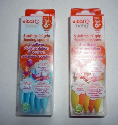 2 pk Vital Baby Soft Tip n Grip Feeding Spoons Eating