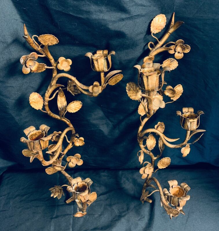 Vintage Italian Gold Gilt Tole Metal Leaf Hollywood Regency Candle Sconces Pair
