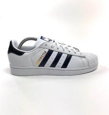 Adidas Superstar Foundation Mens White Blue Shell Toe 8.5 Shoes Sneakers