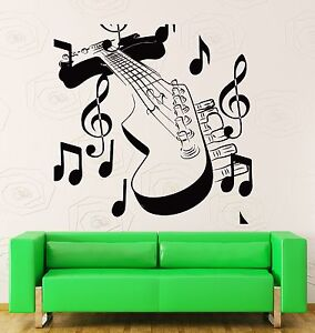 Wall Stickers Vinyl Decal Guitar With Notes Music Rock Rock N Roll Decor Z2207 Ebay