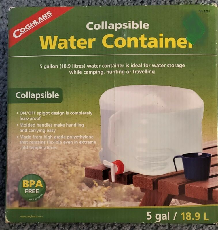 Collapsible Water Container, 5-Gallon, Clear