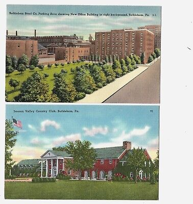 Postcards:Bethlehem Steel Parking Area/Buildings& Saucon Valley Country Club, PA
