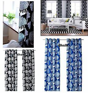 ikea kajsamia curtains drapes blue 0r black white tribal tree grommet eyelet top ebay. Black Bedroom Furniture Sets. Home Design Ideas