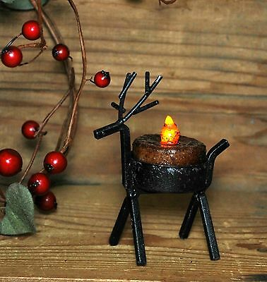 Reindeer Candle Holder (Primitive Reindeer Metal Tealight Candle Holder Rustic Country Winter)