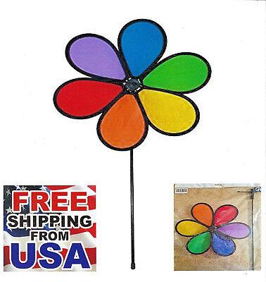 Wind Spinner Rainbow 6-Petal Daisy Windmill  Yard + Patio + Garden for X-Bird](Rainbow Wind Spinner)
