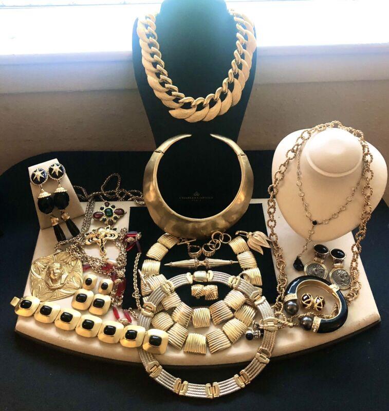 Vintage 80's Jewelry Lot Designer CROWN TRIFARI NAPIER JOAN RIVERS More SETS