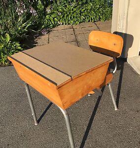 Authentic Wooden School Desk & Chair - $40