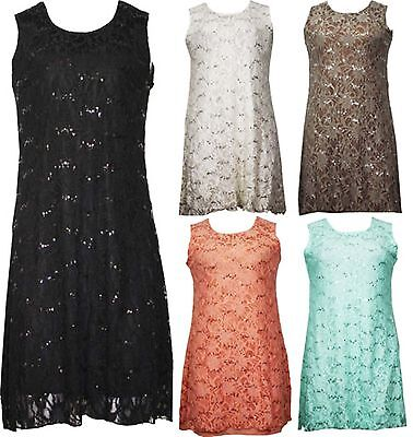 Womens Ladies Floral Lace Sleeveless Lined Sequin Evening Dress Plus Size 14 26