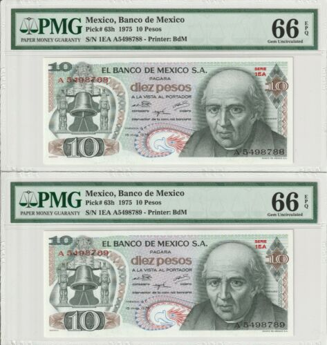 Two Consecutive Gem UNC PMG 66 EPQ Mexico 10 Pesos Banknotes 1975 Pick 63h