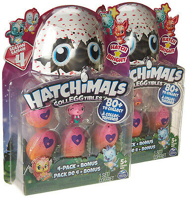 Lot of 2 NEW Hatchimals CollEGGtibles 4-Pack Eggs + Bonus Season 4 BLIND BOX