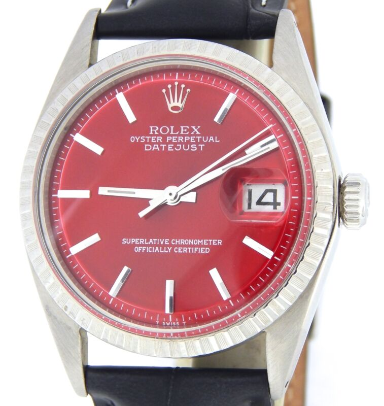Rolex Datejust 1603 Men Stainless Steel Watch Black Engine-turned Bezel Red Dial