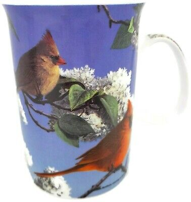 Ashdene of Australia Fine Bone China Cup/Mug Cardinal Male Female Spring Flowers Fine Bone China Cup