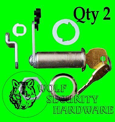 Lot Of 2 National Compx Key Cam Lock Cabinet 1 34 Length Keyed Alike Chrome