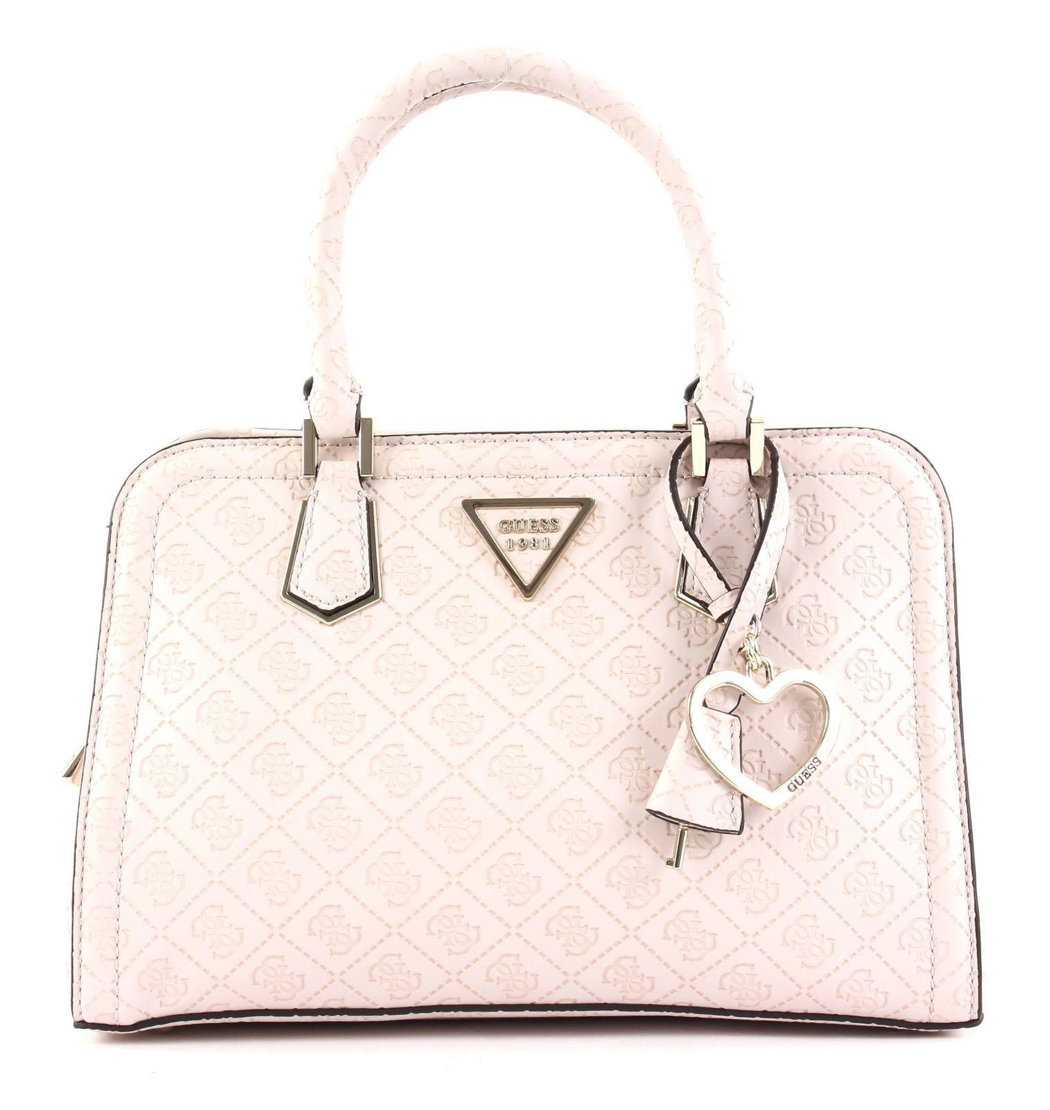 GUESS Lyra Small Girlfriend Satchel Handtasche Umhängetasche Tasche Stone Weiß