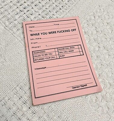 Novelty Funny Message Pad Pink 15 Count