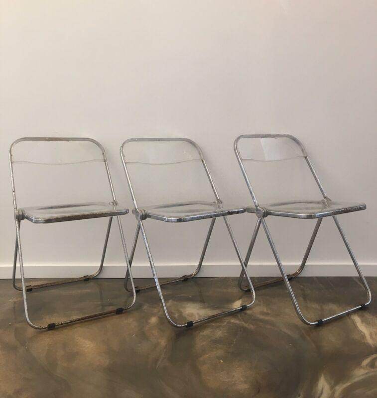 3 Giancarlo Piretti Anonima Castelli Italian Plia Chairs