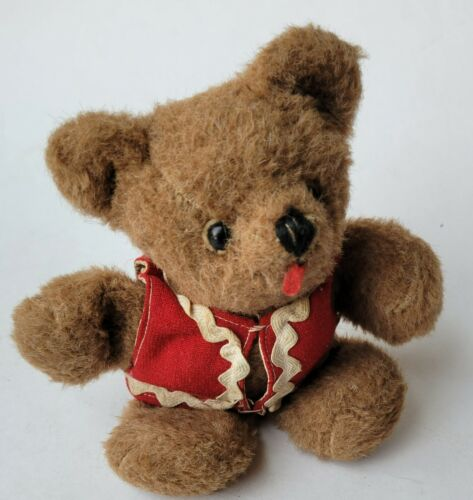 """Vintage Teddy Bear Small Miniature 7"""" Floppy Clothed in Red Christmas Vest"""