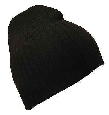 Short Cable Beanie (Black Ribbed Knit Cable Style 8 Inch Short Beanie Winter Ski Cap Caps Hat Hats )