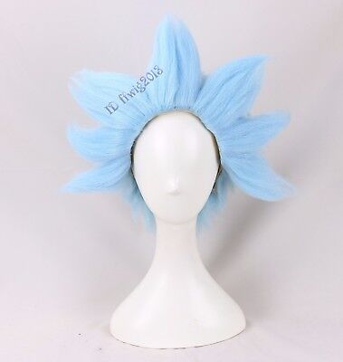 Rick And Morty Wig Short Cosplay Halloween Costume Light Blue Wig - Rick Halloween Costume Rick And Morty