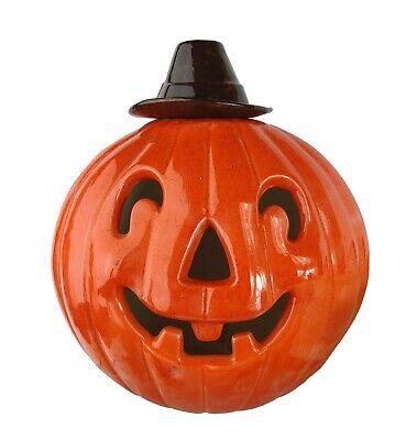 Vintage Large Hand Made Ceramic Jack O'Lantern Pumpkin Halloween Candle Lit