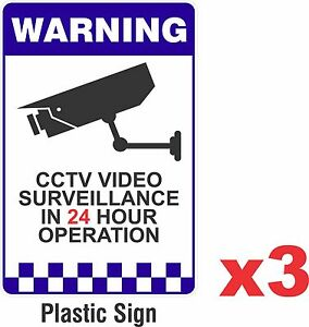 3 PACK - Warning CCTV Security Surveillance Camera Rigid Plastic Sign 200x300mm