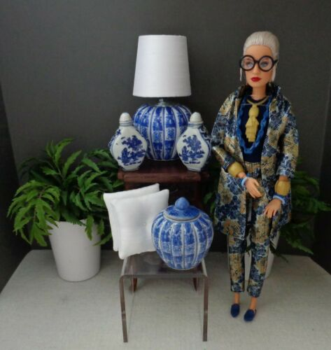 """1:6 Scale Classic Blue/White Chinoiserie Lamp Set for 12""""-16""""  FR Doll Displays"""