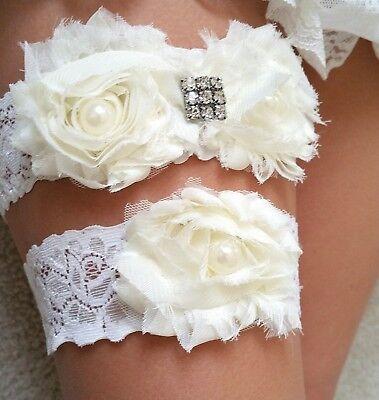 Floral Lace Wedding Garter Bridal Garters Toss Garter Prom Garter Keepsake Garter White Lace Garter Set Ivory Garter Crystal Bridal Garter