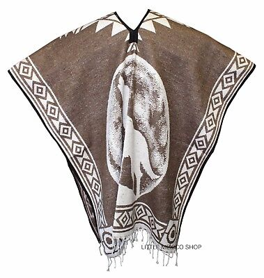 Heavy Blanket Mexican Poncho Coyote 2 Brown One Size Fits...