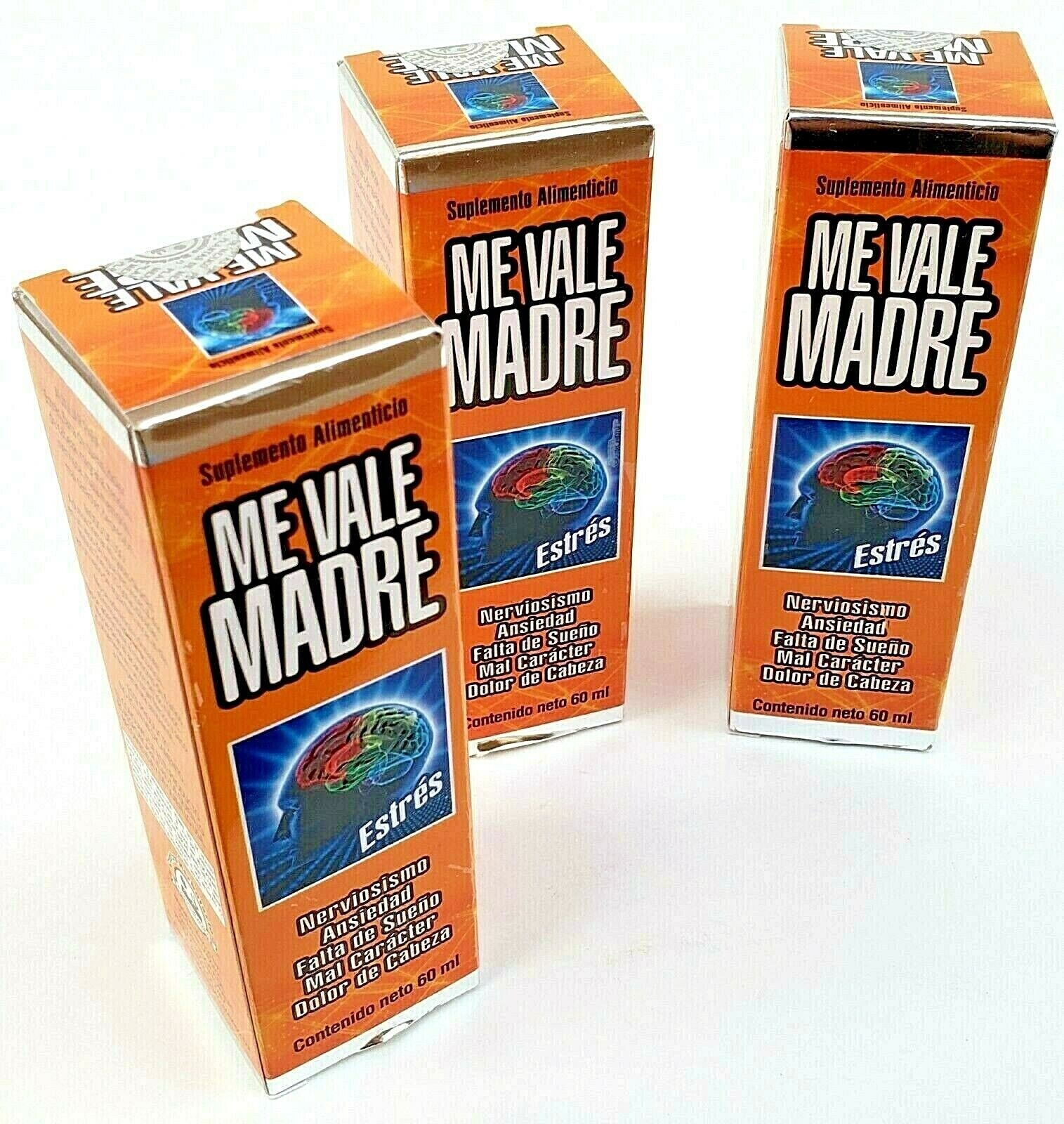 3 Packs ME VALE MADRE DROPS 60 ml each SUPPORT FOR STRESS ANXIETY 1