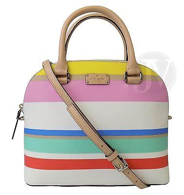 New Kate Spade Carli Grove Street Printed Stripe Satchel Crossbody Leather Bag