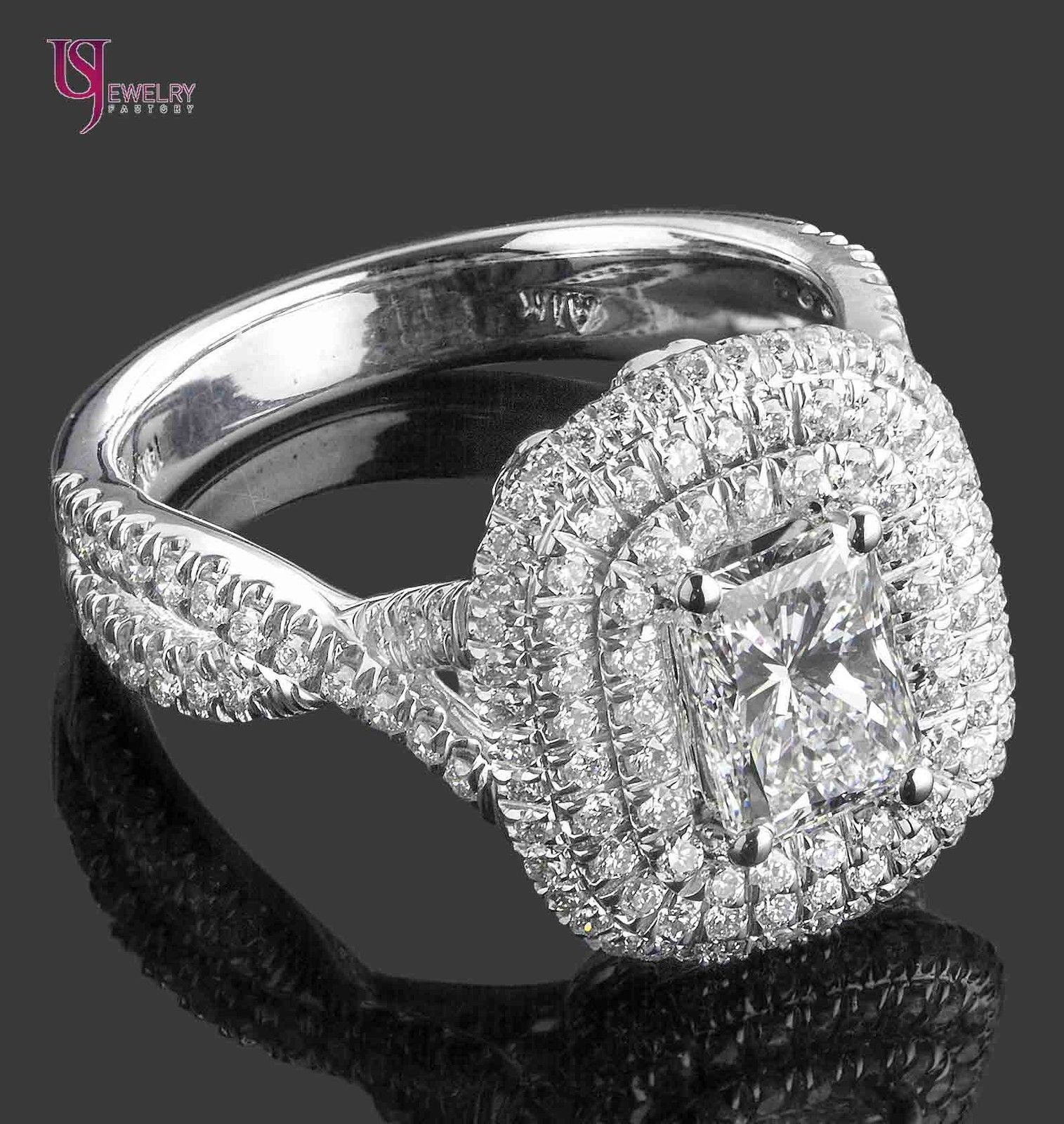 GIA Certified 2.18Ct F-SI1 Radiant Cut Diamond Engagement Infinity Ring 18k Gold 9