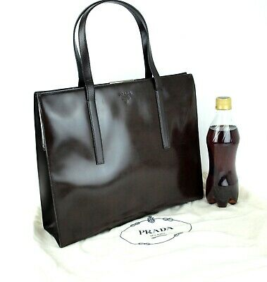 Authentic PRADA Milano Brown Patent Leather Shoulder Hand Bag Tote Vintage Italy