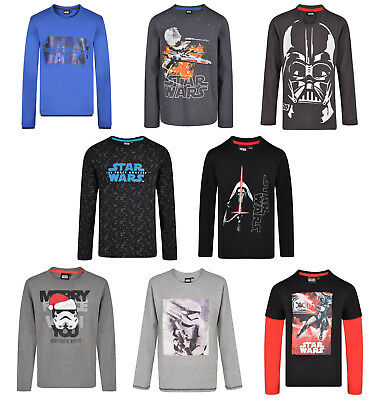 BOYS STAR WARS LONG SLEEVE TOP T SHIRT 2-15 YEARS MANY DESIGNS BRAND NEW