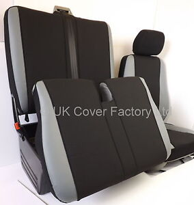 Vw transporter t5 van seat covers grey leather inserts for Housse siege transporter t5