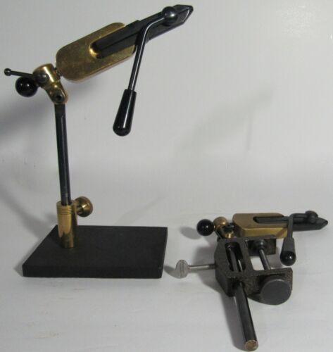TWO 2 Crown/ Nameo/ Royal Black & Brass Fly Tying Vise 1 C Clamp & 1 Metal Base