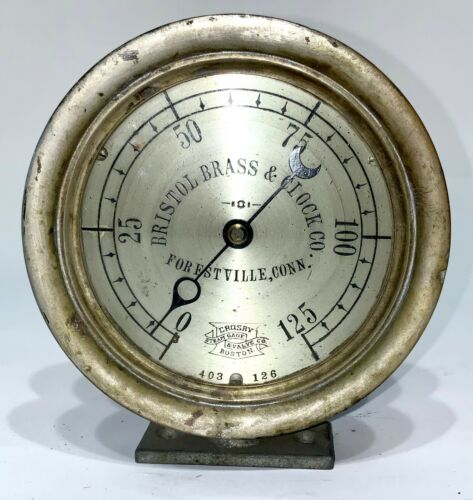 CA 1895 RARE BRISTOL BRASS & CLOCK COMPANY FORESTVILLE CONN STEAM GAUGE BOSTON