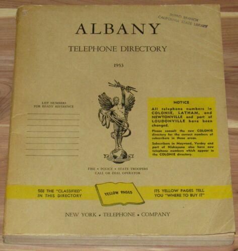 1953 ALBANY NEW YORK TELEPHONE DIRECTORY BOOK