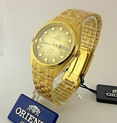Reloj  De Hombre Orient Automatic Watch Men Gold Tone  Brown  Dial Box