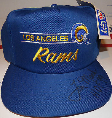 "Tom Mack ""HOF 99"" Autograph Hat Signed Los Angeles Rams Logo Cap AUTO RARE"