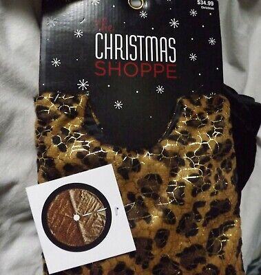 """The Christmas Shoppe Animal Print Christmas Tree Skirt Black Velvet Edge 48"""""""